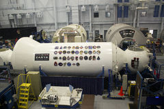 Maquette de la Station Spatiale Internationale ZARYA à la NASA Johnson Space C Images stock