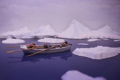 Maquette eines Jagdbootes in der Arktis lizenzfreie stockbilder