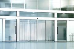 Maquette en verre de construction commerciale vide d'entrée Images stock