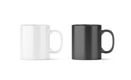Maquette en verre noire et blanche vide de tasse Photographie stock