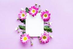 Maquette florale Feuille de papier dans le cadre des fleurs roses sur la vue supérieure de fond pourpre Photos libres de droits