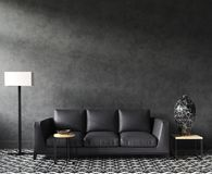Maquette intérieure à la maison avec le sofa et le décor, salon élégant noir de grenier image libre de droits