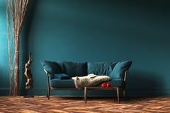 Maquette intérieure à la maison avec le sofa, les rideaux en corde et la table verts dans le salon photographie stock