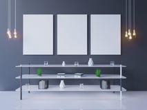 Maquette intérieure d'affiche avec le cadre vide et usines dans la chambre rendu 3d Illustration images stock