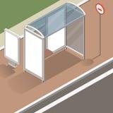 Maquette isométrique d'arrêt d'autobus Images libres de droits