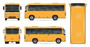 Maquette jaune de vecteur d'autobus Image stock