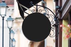 Maquette noire arrondie de signe de société avec l'espace de copie photo stock