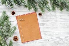 Maquette pendant la nouvelle année 2018 Feuille du papier près des branches impeccables, cône de pin sur le copyspace en bois lég Image libre de droits