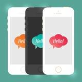 Maquette plate de Smartphone de périphérique mobile d'iPhone Téléphone portable créatif d'isolement Conception d'illustration de  Photos stock