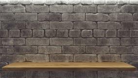 Maquette réaliste avec l'étagère en bois de mur de briques pour la conception de décoration Fond de l'espace ?tag?re vide en bois illustration stock