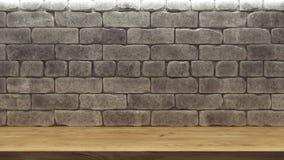 Maquette réaliste avec l'étagère en bois de mur de briques pour la conception de décoration Fond de l'espace ?tag?re vide en bois illustration libre de droits