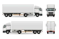 Maquette réaliste de la publicité de camion lourd illustration stock