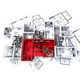 Maquette rouge d'appartement sur des plans illustration stock