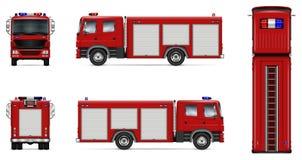 Maquette rouge de vecteur de camion de pompiers illustration stock