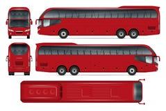 Maquette rouge de vecteur d'autobus Images stock