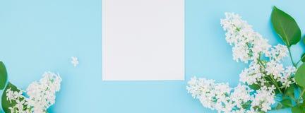 Maquette vide de cadre avec les fleurs blanches Photographie stock libre de droits