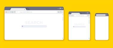 Maquettes de navigateur Interface de site Web pour différents dispositifs, comprimé vide d'ordinateur portable et page d'Internet illustration de vecteur