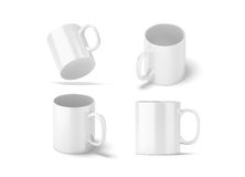 Maquettes en verre blanches vides de tasse réglées d'isolement, rendu 3d Images stock
