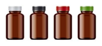 Maquettes vides vides de bouteilles pour des pilules ou d'autres préparations pharmaceutiques illustration stock