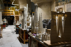 Maquettes in a workshop room Royalty Free Stock Photo