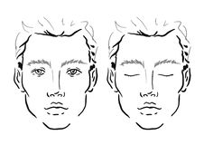 Maquilhador Blank da carta da cara do homem molde ilustração royalty free