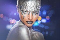 Maquillage argenté photographie stock