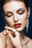 Maquillage brillant de visage Photographie stock