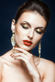 Maquillage brillant de visage Photographie stock libre de droits