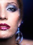 Maquillage brillant de visage de femme Photographie stock libre de droits