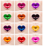 Maquillage coloré de lèvres d'amour de coeur Photos libres de droits