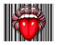 Maquillage de bande de code barres de bouche femelle avec la langue illustration libre de droits
