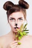 Maquillage de caractères de carnaval Animal de femme avec le maquillage artistique photographie stock