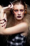 Maquillage de femme de beauté de Halloween Image libre de droits