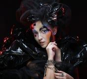 Maquillage de femme de style de beauté de Halloween image stock