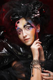 Maquillage de femme de style de beauté de Halloween Image libre de droits
