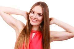 Maquillage de visage de cheveux de fille avec du charme de femme long photos stock