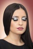 Maquillage fermé de mannequin de yeux Images libres de droits