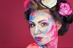 Maquillage floral Photos libres de droits