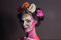 Maquillage floral Photographie stock libre de droits