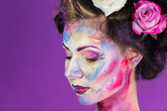 Maquillage floral Photographie stock