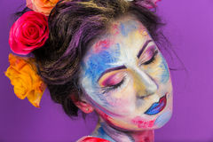 Maquillage floral Photo libre de droits