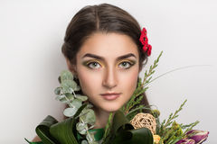 Maquillage lumineux de wiyh de femme Photo stock
