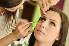Maquillage Maquillage Fards à paupières Brosse de fard à paupières Photographie stock libre de droits