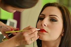 Maquillage Maquillage Fards à paupières Brosse de fard à paupières Images stock