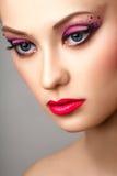 Maquillage modèle blond de professionnel de portrait de mode image libre de droits