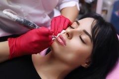 Maquillage permanent sur ses lèvres photo stock