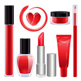 Maquillage réglé pour des lèvres et des clous Couleur rouge Photographie stock libre de droits