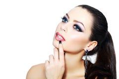 Maquillaje ahumado de la mujer Imagen de archivo