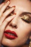 Maquillaje brillante de la cara Foto de archivo libre de regalías