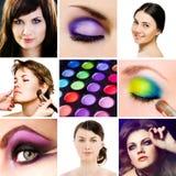 Maquillaje. Collage. Foto de archivo
